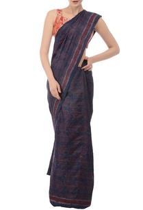 blue-marsala-printed-tussar-silk-sari
