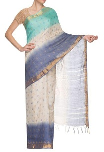 blue-white-golden-border-handwoven-sari