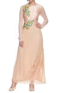 blush-pink-drape-dress-with-floral-applique
