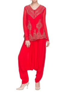 bright-red-embellished-kurta-draped-cowl-pants