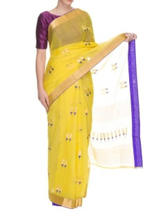 bright-yellow-handwoven-floral-motif-sari