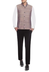 brown-textured-printed-nehru-jacket