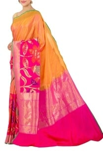 mustard-and-fuschia-banarasi-silk-sari