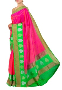 pink-orange-green-banarasi-silk-sari