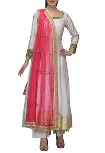 ivory-electric-pink-embroidered%c2%a0anarkali-set