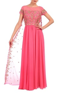 carnation-pink-gold-floral-embroidered-layered-dress
