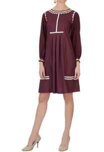 burgundy-hand-applique-work-shift-dress