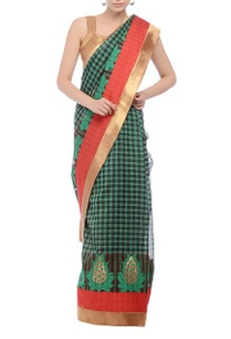 checked-sari-with-embroidered-motif