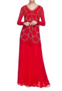 cherry-red-beadwork-kurta-with-palazzo