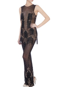 black-stretchable-net-hand-embroidered-gown
