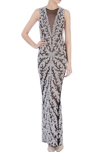 black-white-stretchable-net-hand-embroidered-gown