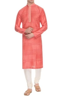 coral-pink-beige-striped-pintuck-kurta
