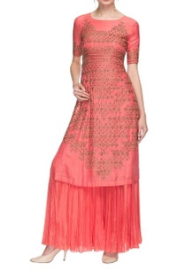 coral-pink-embroidered-long-kurta-palazzo