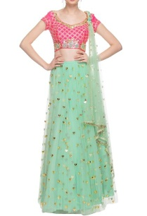 coral-pink-mint-green-embellished-lehenga-set