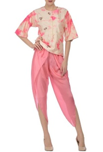 cream-coral-pink-tie-dye-blouse-with-dhoti-pants