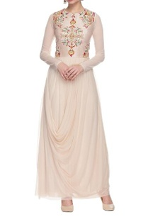 cream-drape-dress-with-embroidered-yoke