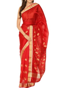 red-gold-peacock-motif-chanderi-silk-sari