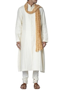 ivory-checked-silk-sherwani-set