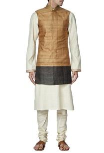 brown-raw-silk-nehru-jacket-with-ivory-kurta-set