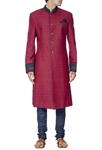 burgundy-and-navy-blue-sherwani-set