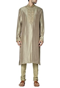 grey-and-olive-green-embroidered-kurta-set