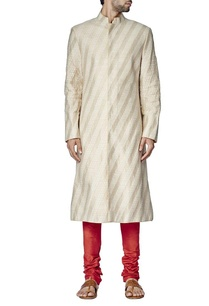 cream-and-beige-sherwani-set-with-red-churidar