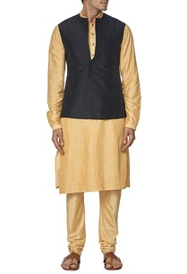 black-raw-silk-nehru-jacket