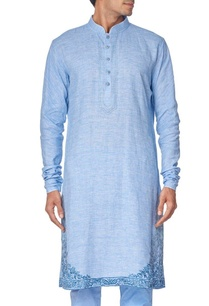 blue-cotton-linen-embroidered-kurta-set