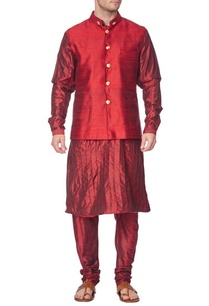 maroon-pleated-kurta-with-churidar-and-red-nehru-jacket