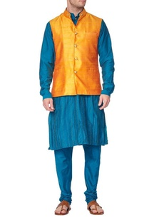 green-pleated-kurta-with-churidar-and-marigold-nehru-jacket