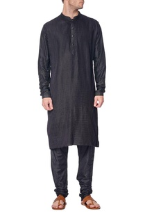 black-pleated-kurta-with-churidar