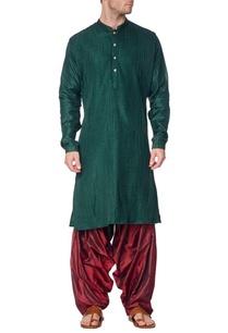 emerald-green-pleated-kurta-with-maroon-patiala