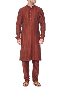 brown-pleated-kurta-with-churidar