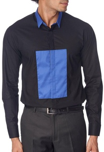 black-shirt-with-blue-patch-and-collar