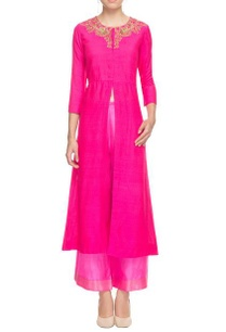 deep-pink-embellished-kurta-with-palazzos