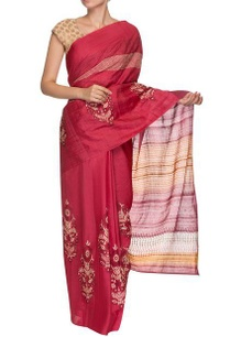 deep-pink-wine-orange-floral-motif-handwoven-sari