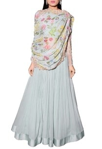 sea-blue-lehenga-with-draped-floral-printed-blouse