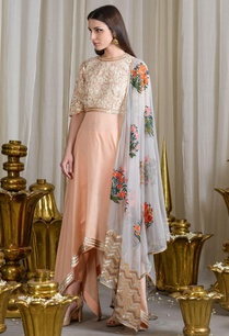 peach-and-sky-grey-asymmetrical-sequined-kurta-and-churidar-set