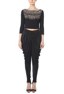 black-sequin-embellished-crop-top-wih-cowl-pants