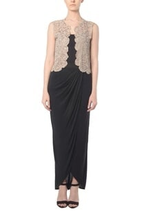 beige-rose-cutwork-jacket-with-black-draped-maxi-skirt