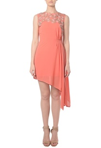 coral-pleated-embellished-asymmetrical-dress