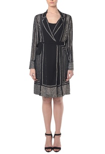 black-silver-embellished-jacket-dress