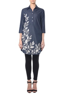 denim-leaf-embroidered-tunic