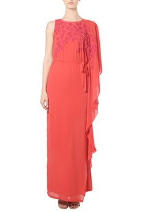poppy-red-embroidered-cape-dress