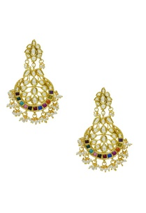 gold-plated-multi-colored-stone-earrings