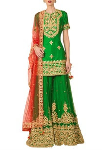 emerald-green-gota-patti-sharara-set