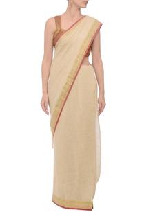 beige-gold-deep-pink-jacquard-linen-sari