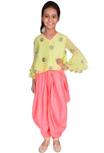 lime-yellow-coral-georgette-sequin-polka-dots-suit