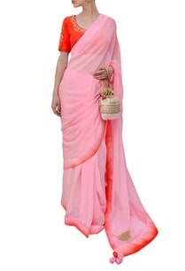 orange-and-light-pink-embroidered-sari