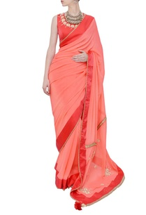 coral-pink-floral-embroidered-sari